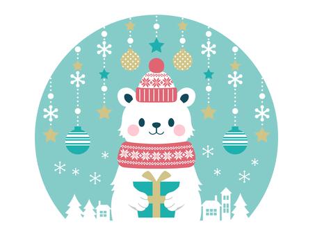 White bear in the snow globe