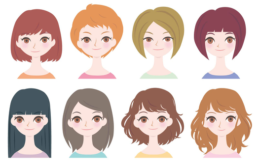 Female face only Hair style 8 species 01