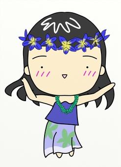 フラダンスを踊っている若い女性(紫の服)