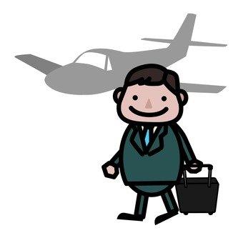 A man riding an airplane