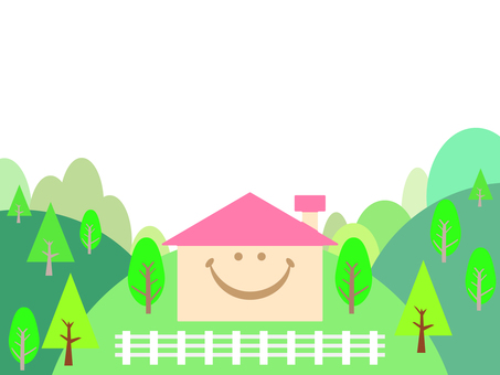 Background of mountain and smiling house