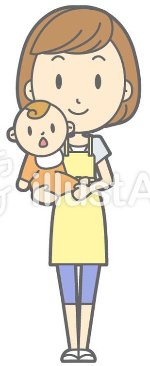 主婦C-抱っこ-全身のイラスト