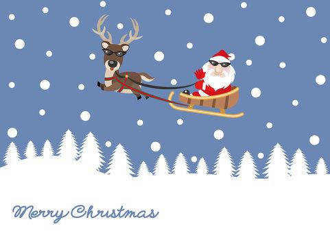 Santa and reindeer snow