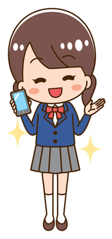 High school girl with smartphone