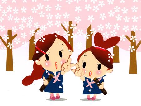 Graduation ceremony · Sakura blizzard · Friendship