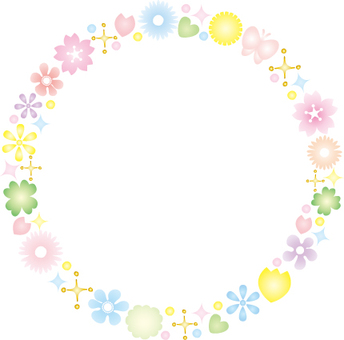Colorful Flower Round Frame
