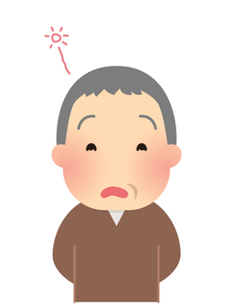Illustration of an elderly man with dementia