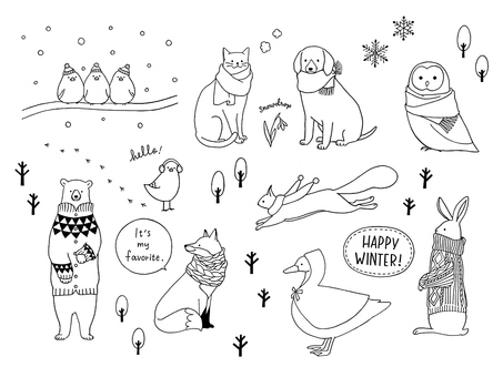 happy winter winter animals