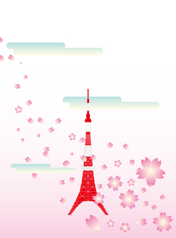Tokyo Tower and Cherry Blossoms