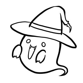 Halloween haunted round eye line drawing