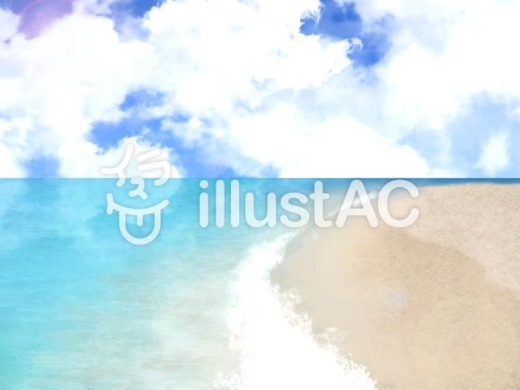 【フリーイラスト素材】浜辺と穏やかな海