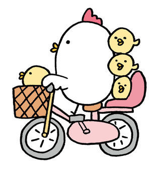 Chicken parent and child cycling