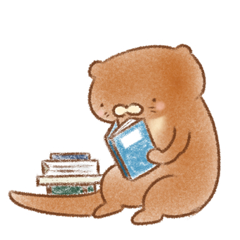 Otter reading a book
