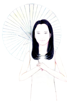 [手寫]一個女人抱著一把遮陽傘的插圖
