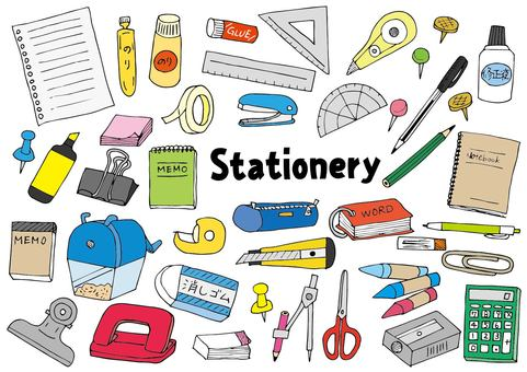 Stationery illustration set (color)