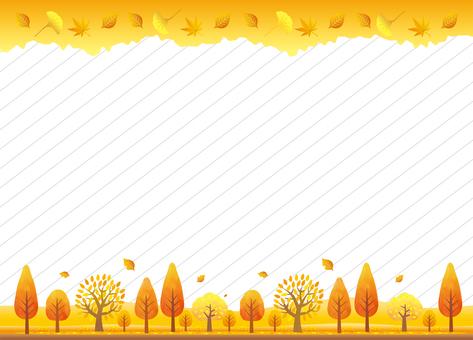 秋の紅葉の木々の背景