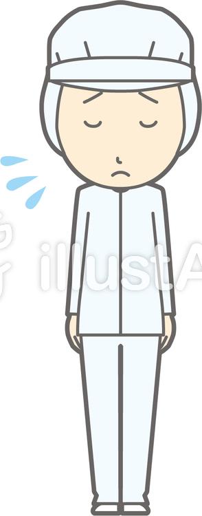 衛生服男-おじぎ謝罪-全身のイラスト