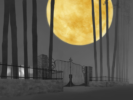 Background (iron fence · moon)