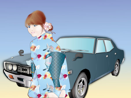 Yukata women and car 01