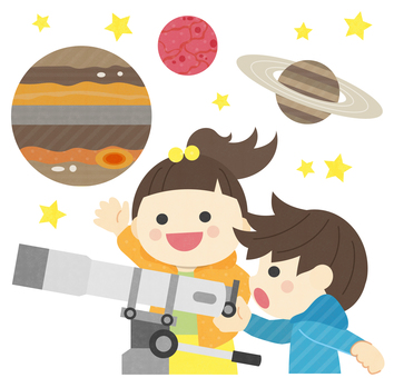 Astronomical observation _ two children _ planet illustration