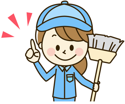 Women in work clothes 2-1-2 Cleaning tools