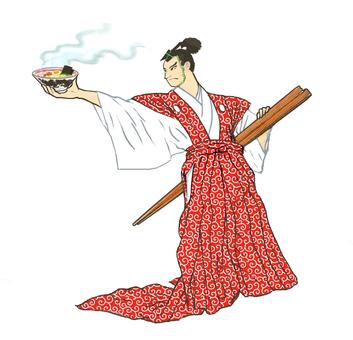 Ramen Otaku Samurai Edo Komon (Red)
