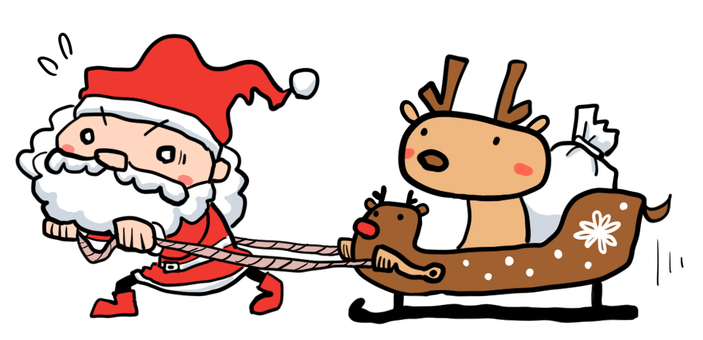 Santa pulling the sleigh of the reindeer