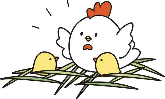 Chicken and chick - color