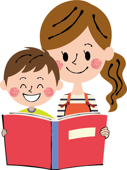 Smile mommy boy reading picture book red