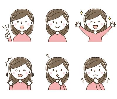かわいい女性の表情セット/手描き