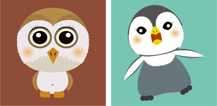 Owl and penguin