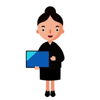 平板電腦的女人