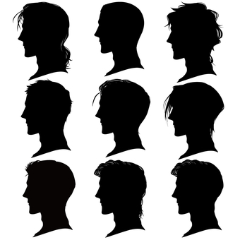 Men's hairstyle profile silhouette set material