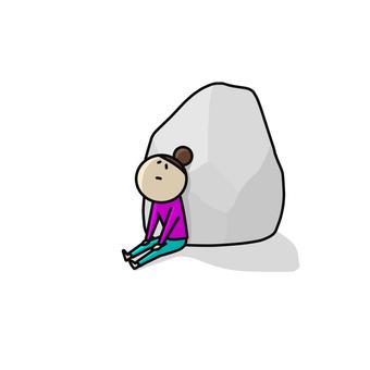 혼자 여성 바위