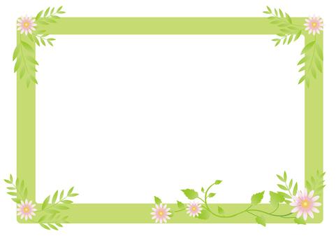Fresh green leaf and flower frame