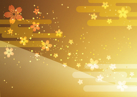 New Year _ sakura _ gold leaf background
