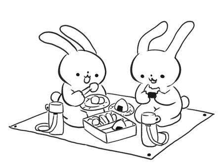 [B / W] Rabbit enjoying picnic [Line art]