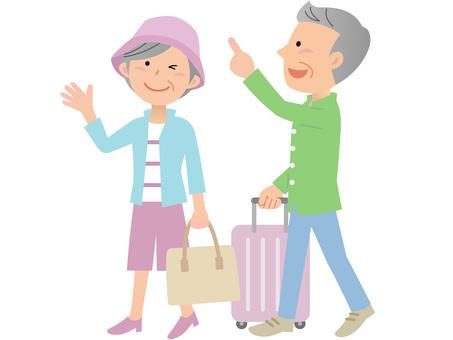 60415. Travel senior, walking, whole body