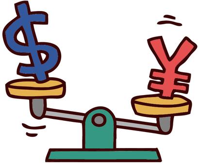 Illustration of yen and dollar