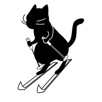 Black cat silhouette - ski