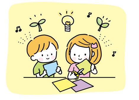 Children who work together (hand-drawn)