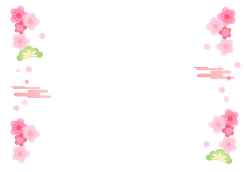 벚꽃과 소나무 일본식 장식 테두리 프레임
