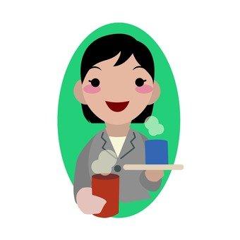 Female employees who make tea