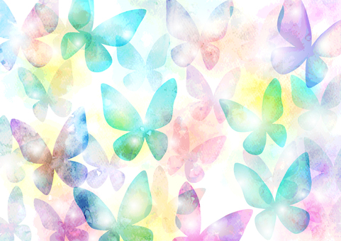 Watercolor style colorful butterfly pattern background