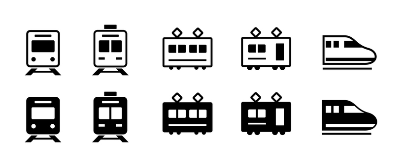 Train and Shinkansen icon set