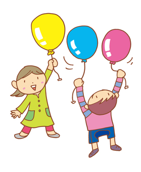 Balloons and children