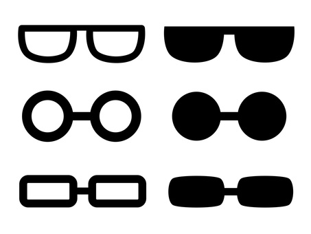 Glasses and sunglasses icon set