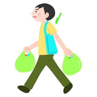 Men returning from shopping