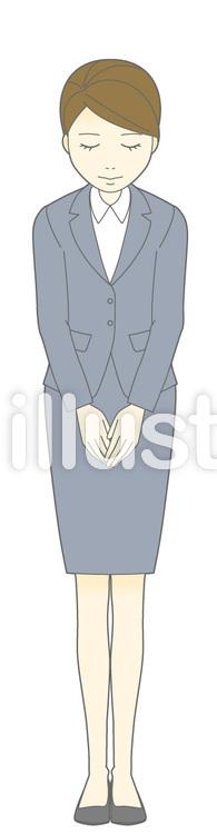 D女性スーツ-おじぎ-全身のイラスト