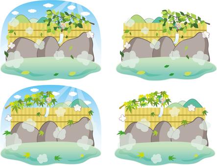 여름의 천연 온천 노천탕 암석 온천 세트